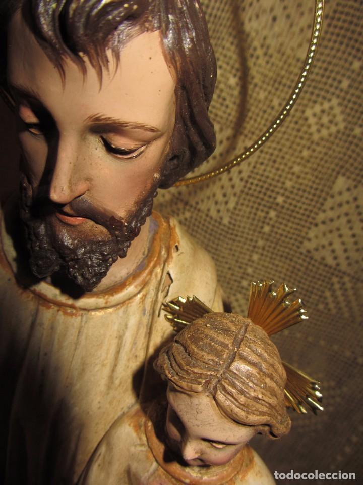 Arte: Escultura San José con el Niño - Madera Policromada XIX - - Foto 18 - 85652564