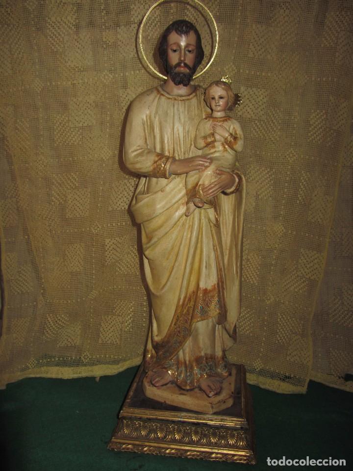 Arte: Escultura San José con el Niño - Madera Policromada XIX - - Foto 19 - 85652564