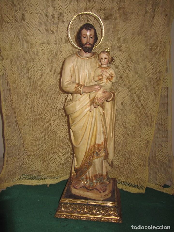 Arte: Escultura San José con el Niño - Madera Policromada XIX - - Foto 28 - 85652564