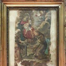Arte: VENERACIÓN A LA VIRGEN Y EL NIÑO. GRABADO ENRIQUECIDO. ESPAÑA. SIGLO XVIII.. Lote 85734636