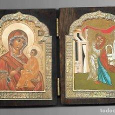 Arte: ANTIGUO DIPTICO EN MADERA DE SOBREMESA MEDIDAS 16,5 X 10 CM. Lote 85893532