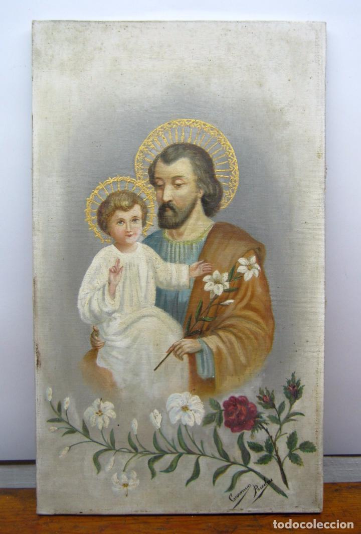 48 CM - ANTIGUA PINTURA OLEO SOBRE LIENZO : SAN JOSE CON EL NIÑO JESUS - FIRMADO (Arte - Arte Religioso - Pintura Religiosa - Oleo)