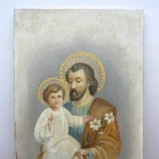 Arte: 48 CM - ANTIGUA PINTURA OLEO SOBRE LIENZO : SAN JOSE CON EL NIÑO JESUS - FIRMADO. Lote 85932496