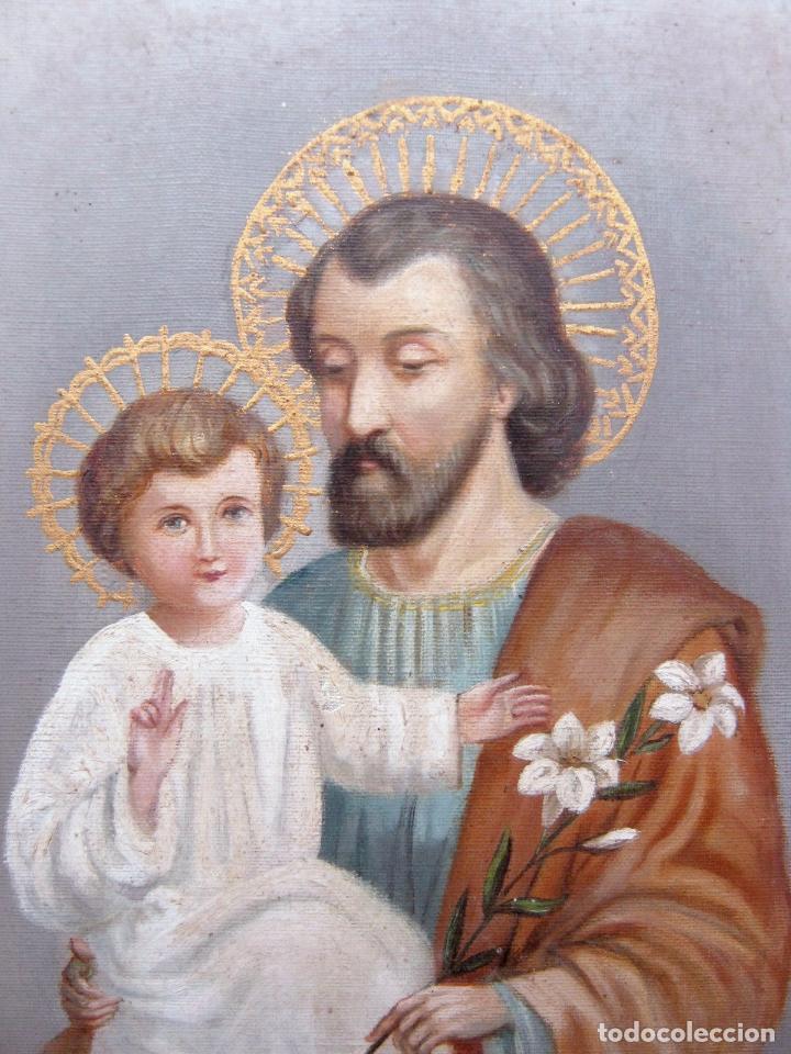 Arte: 48 cm - Antigua pintura oleo sobre lienzo : SAN JOSE CON EL NIÑO JESUS - firmado - Foto 2 - 85932496