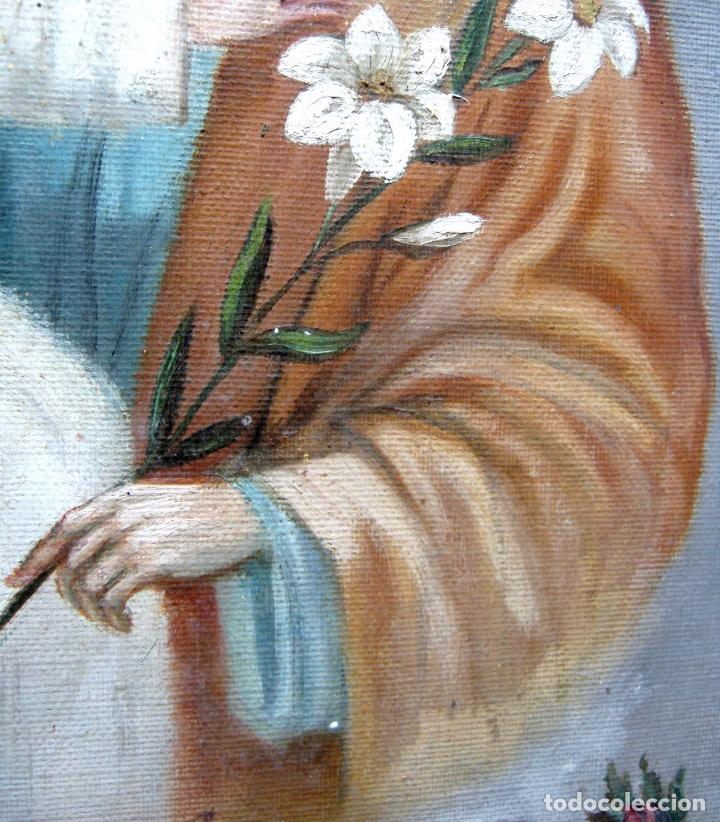 Arte: 48 cm - Antigua pintura oleo sobre lienzo : SAN JOSE CON EL NIÑO JESUS - firmado - Foto 3 - 85932496