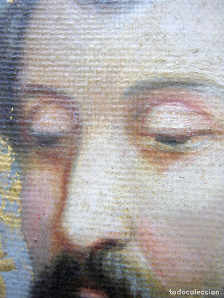 Arte: 48 cm - Antigua pintura oleo sobre lienzo : SAN JOSE CON EL NIÑO JESUS - firmado - Foto 4 - 85932496
