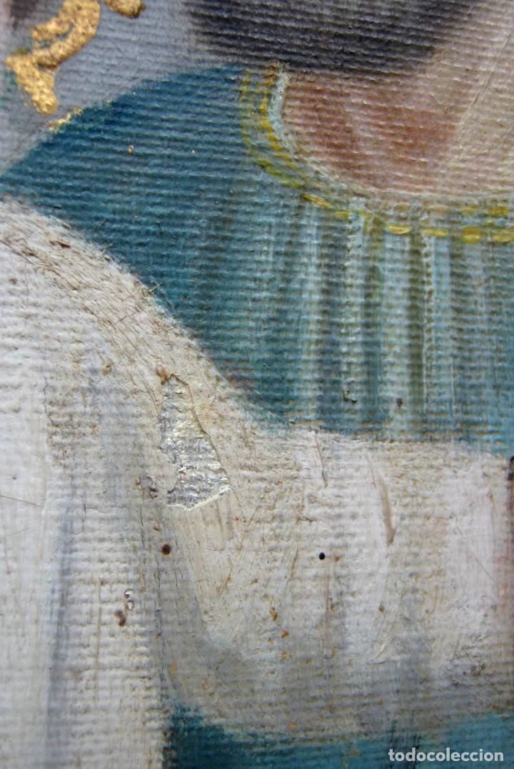 Arte: 48 cm - Antigua pintura oleo sobre lienzo : SAN JOSE CON EL NIÑO JESUS - firmado - Foto 5 - 85932496