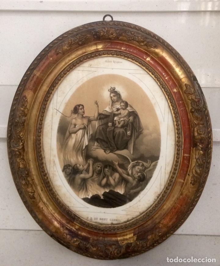 GRABADO DE FINALES DEL SIGLO XIX, VIRGEN DEL CARMEN. (Arte - Arte Religioso - Grabados)