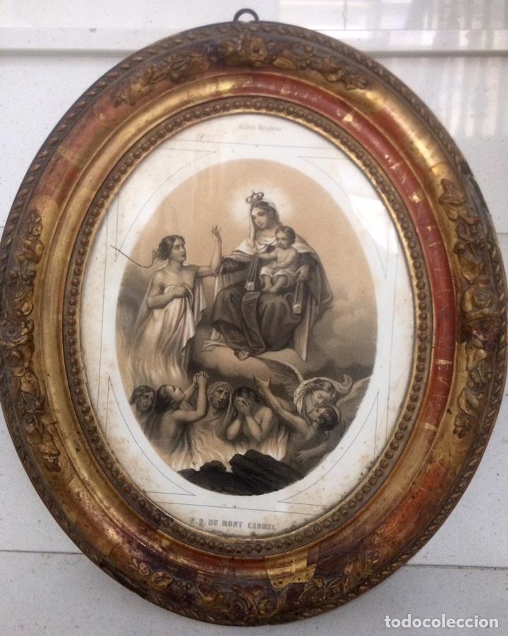 Arte: Grabado de finales del Siglo XIX, Virgen del Carmen. - Foto 2 - 85991143