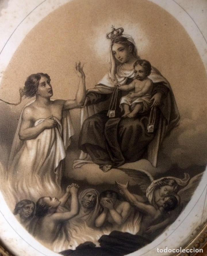 Arte: Grabado de finales del Siglo XIX, Virgen del Carmen. - Foto 3 - 85991143