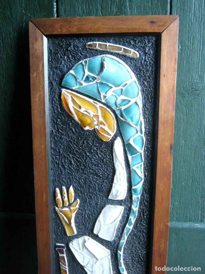 Arte: 96 cm - Tecnica mixta collage con vidrios tipo vidriera - firmado - Virgen Maria - Foto 2 - 86159800