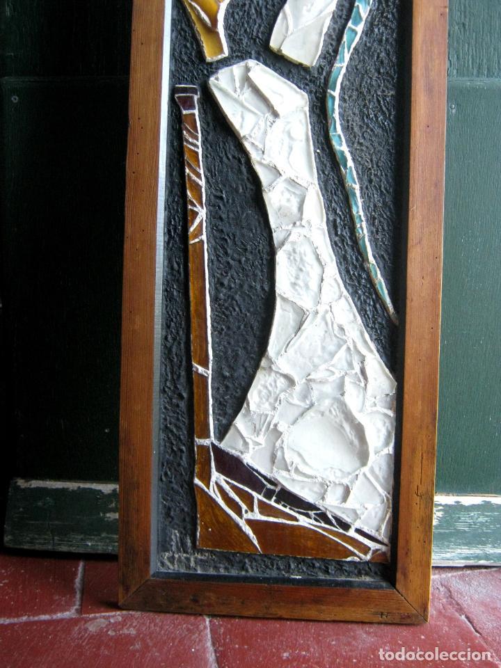 Arte: 96 cm - Tecnica mixta collage con vidrios tipo vidriera - firmado - Virgen Maria - Foto 3 - 86159800