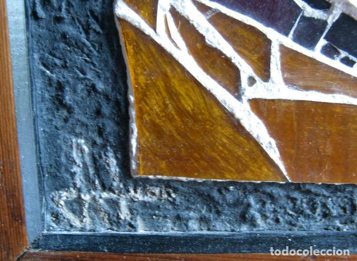 Arte: 96 cm - Tecnica mixta collage con vidrios tipo vidriera - firmado - Virgen Maria - Foto 4 - 86159800