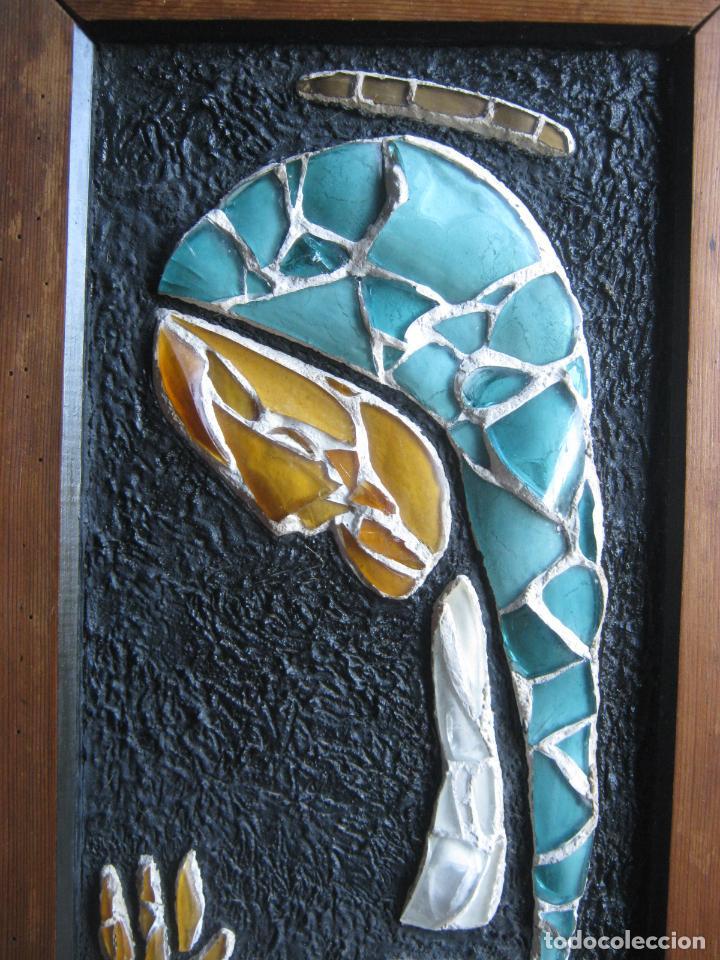 Arte: 96 cm - Tecnica mixta collage con vidrios tipo vidriera - firmado - Virgen Maria - Foto 5 - 86159800