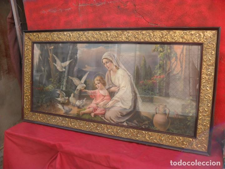 2 CUADROS RELIGIOSOS ANTIGUOS,ENORME 140X70 CM MAYOR,MUCHAS FOTOS (Arte - Arte Religioso - Pintura Religiosa - Otros)