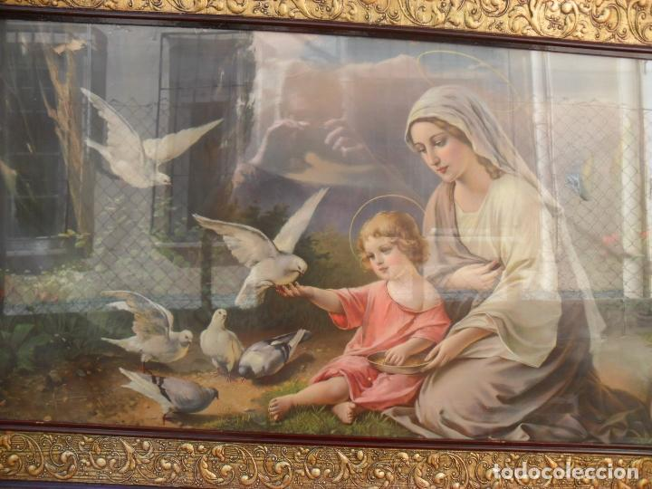 Arte: 2 cuadros religiosos antiguos,enorme 140x70 cm mayor,muchas fotos - Foto 3 - 86228132