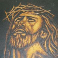 Arte: ESPECTACULAR OBRA HECHA EN MADERA AL FUEGO MOTIVO RELIGIOSO FIRMADA. Lote 86306088