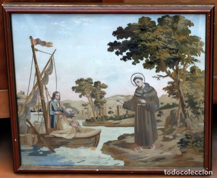 Arte: BELLA COMPOSICIÓN BORDADA Y PINTADA SOBRE SEDA DEL SIGLO XIX DE TEMA RELIGIOSO - Foto 2 - 86373716