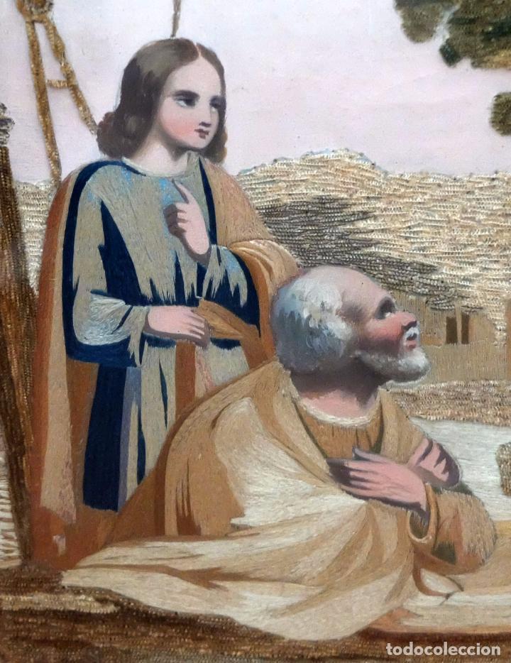 Arte: BELLA COMPOSICIÓN BORDADA Y PINTADA SOBRE SEDA DEL SIGLO XIX DE TEMA RELIGIOSO - Foto 4 - 86373716