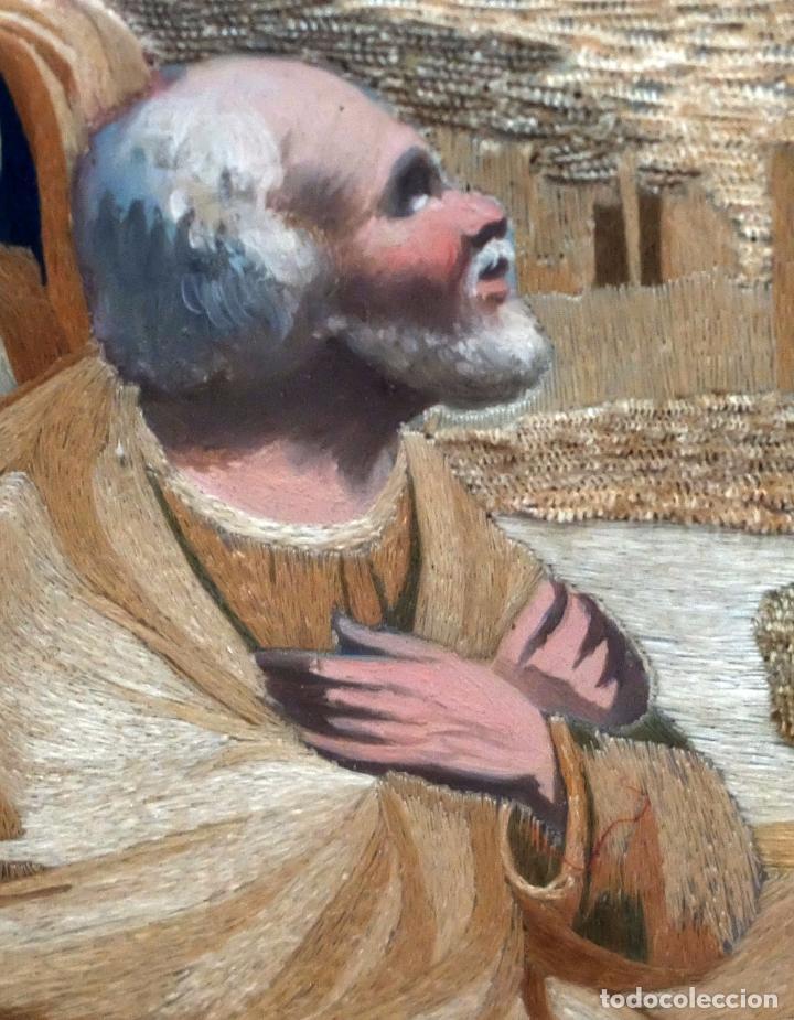 Arte: BELLA COMPOSICIÓN BORDADA Y PINTADA SOBRE SEDA DEL SIGLO XIX DE TEMA RELIGIOSO - Foto 8 - 86373716