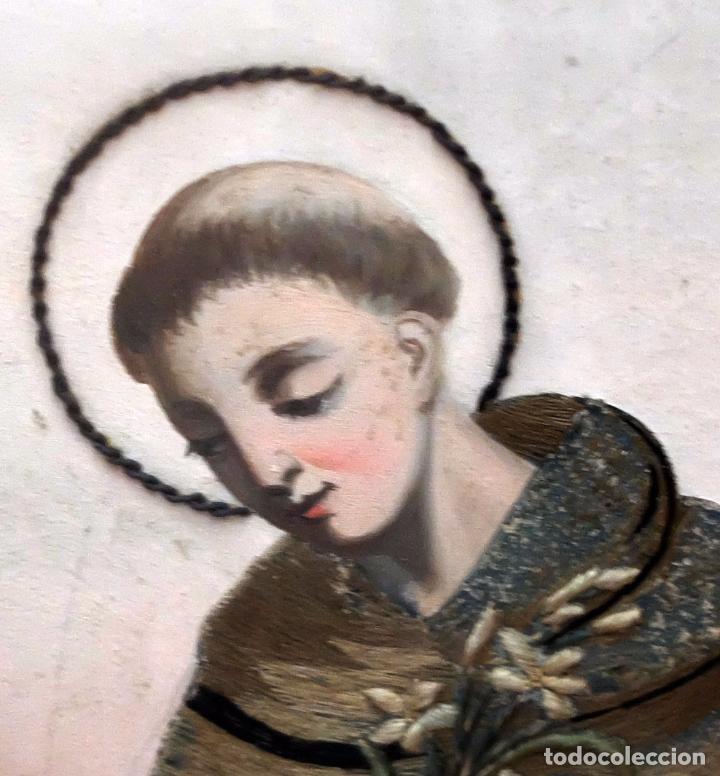 Arte: BELLA COMPOSICIÓN BORDADA Y PINTADA SOBRE SEDA DEL SIGLO XIX DE TEMA RELIGIOSO - Foto 7 - 86373716