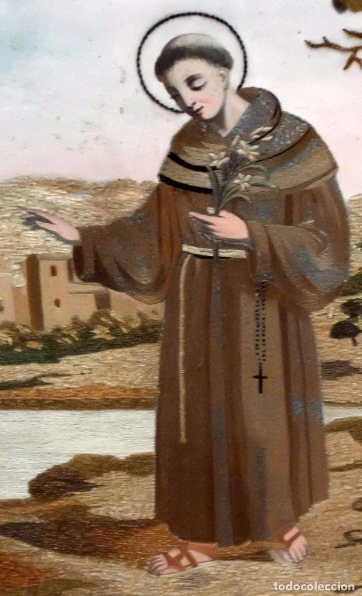 Arte: BELLA COMPOSICIÓN BORDADA Y PINTADA SOBRE SEDA DEL SIGLO XIX DE TEMA RELIGIOSO - Foto 6 - 86373716