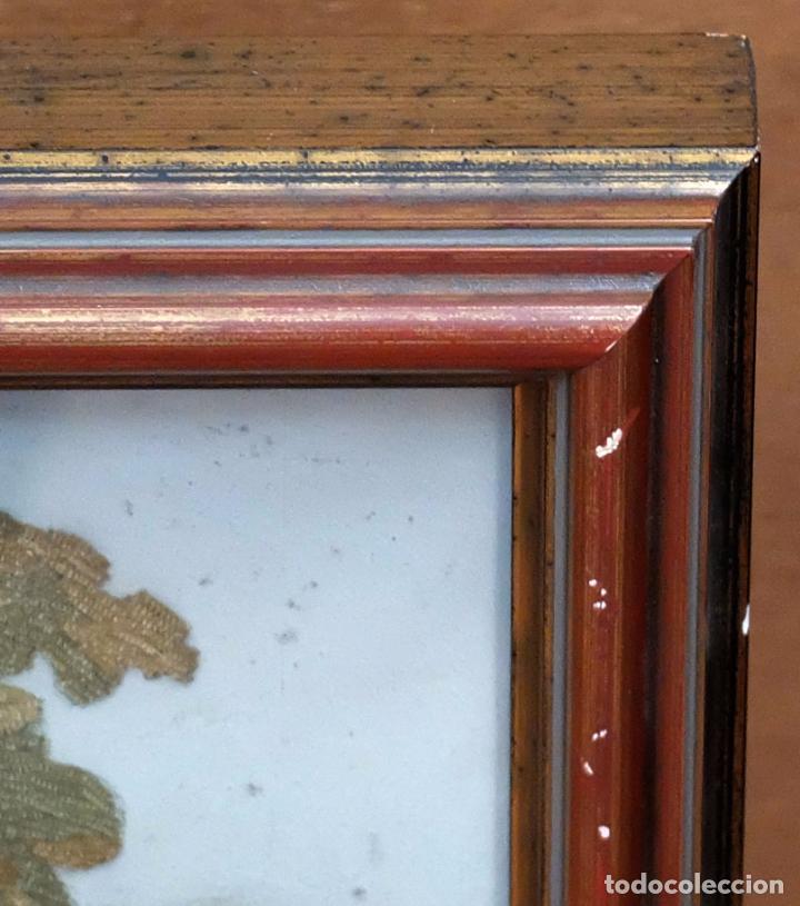 Arte: BELLA COMPOSICIÓN BORDADA Y PINTADA SOBRE SEDA DEL SIGLO XIX DE TEMA RELIGIOSO - Foto 11 - 86373716