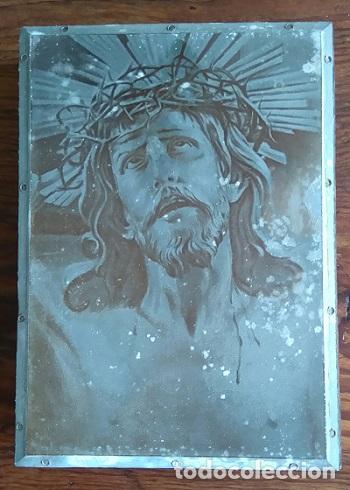 ANTIGUA PLANCHA SOBRE MADERA PARA IMPRIMIR LA IMAGEN DEL SANTO CRISTO DE LIMPIAS CANTABRIA (Arte - Arte Religioso - Grabados)