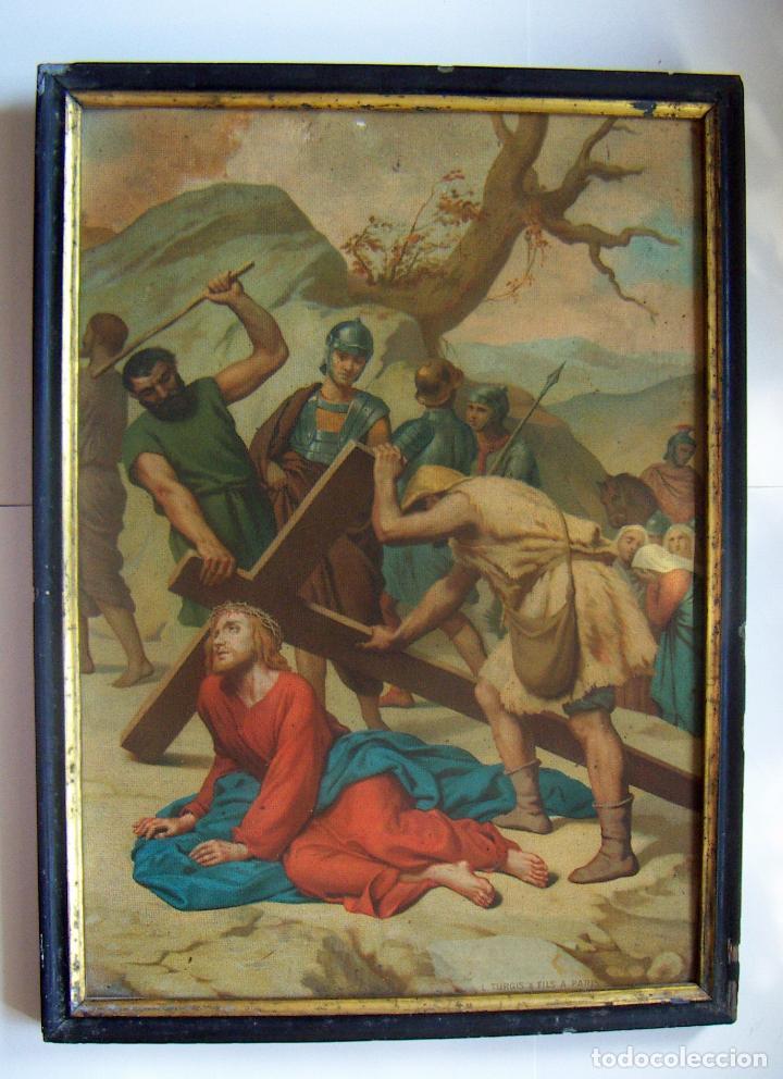 COLECCION DE 14 CROMOLITOGRAFIAS DE LAS 14 ESTACIONES DEL VIACRUCIS DE L.TURGIS PARIS (Arte - Arte Religioso - Litografías)