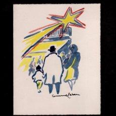 Arte: C2-7 JOAN COMMELERAN - ACUARELA CON DEDICATORIA MANUSCRITA. EJEMPLAR UNICO EN FELICITACION PARA LA N. Lote 86480656