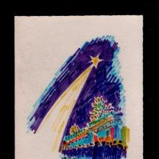 Arte: C2-8 JOAN COMMELERAN -ACUARELA CON DEDICATORIA MANUSCRITA. EJEMPLAR UNICO EN FELICITACION PARA LA NA. Lote 86480716
