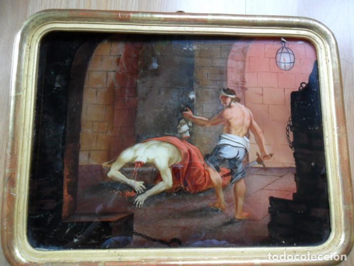 PINTURA SOBRE VIDRIO - CRISTAL - SIGLO XVIII -DECAPITACIÓN DE SAN JUAN BAUTISTA - ENMARCADO (Arte - Arte Religioso - Pintura Religiosa - Oleo)