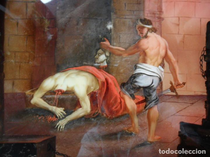 Arte: PINTURA SOBRE VIDRIO - CRISTAL - SIGLO XVIII -DECAPITACIÓN DE SAN JUAN BAUTISTA - ENMARCADO - Foto 3 - 86484420
