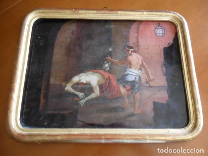 Arte: PINTURA SOBRE VIDRIO - CRISTAL - SIGLO XVIII -DECAPITACIÓN DE SAN JUAN BAUTISTA - ENMARCADO - Foto 5 - 86484420