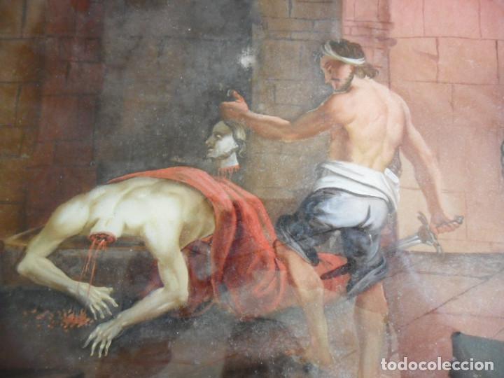 Arte: PINTURA SOBRE VIDRIO - CRISTAL - SIGLO XVIII -DECAPITACIÓN DE SAN JUAN BAUTISTA - ENMARCADO - Foto 6 - 86484420