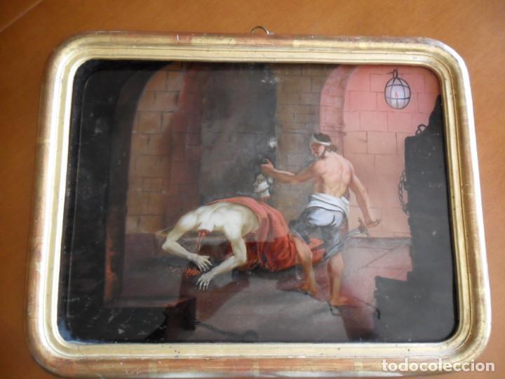 Arte: PINTURA SOBRE VIDRIO - CRISTAL - SIGLO XVIII -DECAPITACIÓN DE SAN JUAN BAUTISTA - ENMARCADO - Foto 7 - 86484420