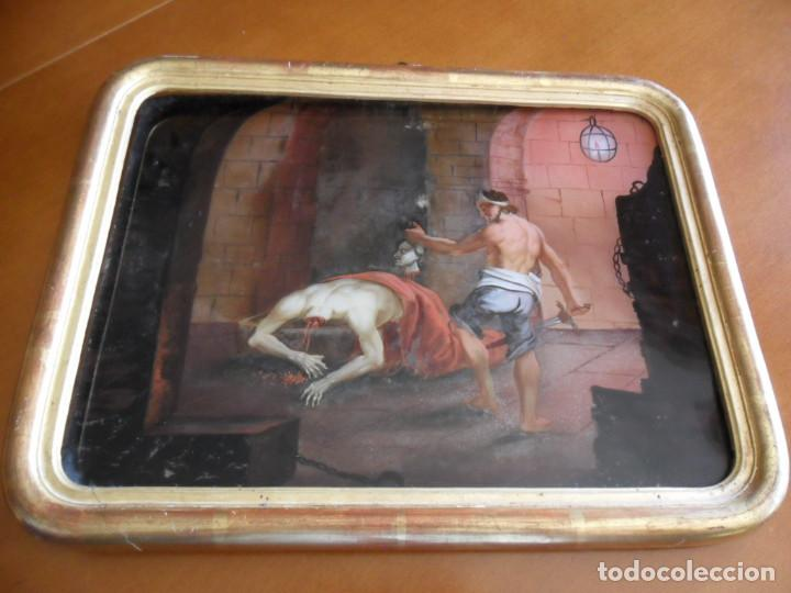 Arte: PINTURA SOBRE VIDRIO - CRISTAL - SIGLO XVIII -DECAPITACIÓN DE SAN JUAN BAUTISTA - ENMARCADO - Foto 8 - 86484420