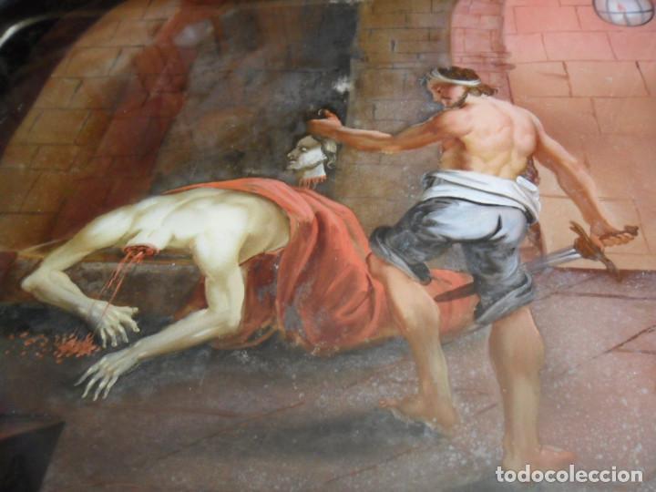 Arte: PINTURA SOBRE VIDRIO - CRISTAL - SIGLO XVIII -DECAPITACIÓN DE SAN JUAN BAUTISTA - ENMARCADO - Foto 9 - 86484420