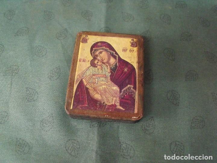 ANTIGUO ICONO DE LA VIRGEN AÑO 30-40 EN MADERA (Arte - Arte Religioso - Iconos)