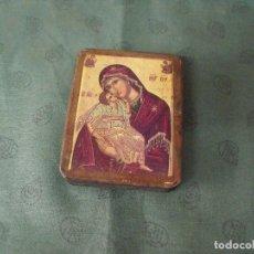Arte: ANTIGUO ICONO DE LA VIRGEN AÑO 30-40 EN MADERA . Lote 86617008