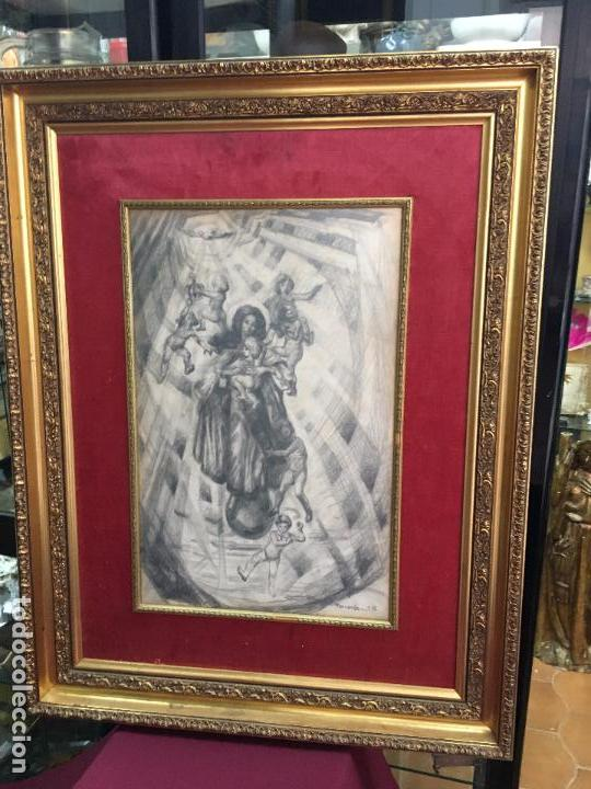 MAGNIFICA PINTURA A LAPIZ SOBRE LA CORONACION DE LA VIRGEN - MEDIDA MARCO 81X63,5 CM Y PINTURA 51X33 (Arte - Arte Religioso - Pintura Religiosa - Otros)