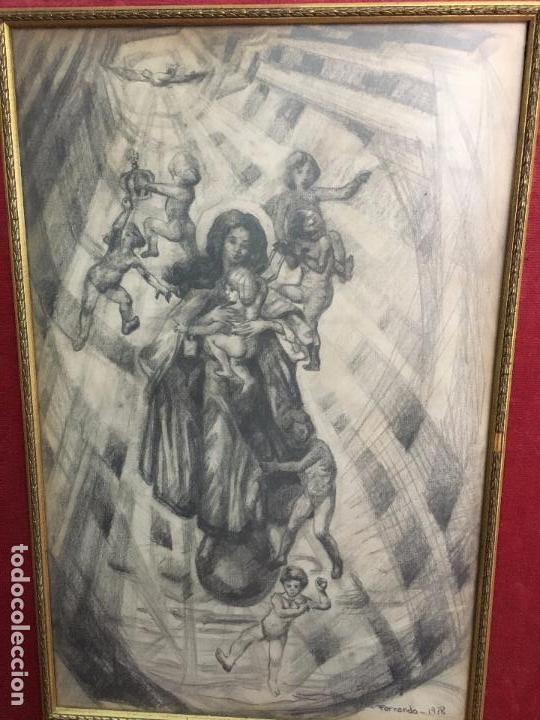 Arte: MAGNIFICA PINTURA A LAPIZ SOBRE LA CORONACION DE LA VIRGEN - MEDIDA MARCO 81X63,5 CM Y PINTURA 51X33 - Foto 2 - 156876304