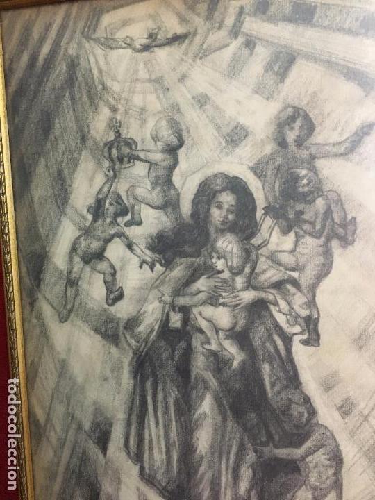 Arte: MAGNIFICA PINTURA A LAPIZ SOBRE LA CORONACION DE LA VIRGEN - MEDIDA MARCO 81X63,5 CM Y PINTURA 51X33 - Foto 3 - 156876304