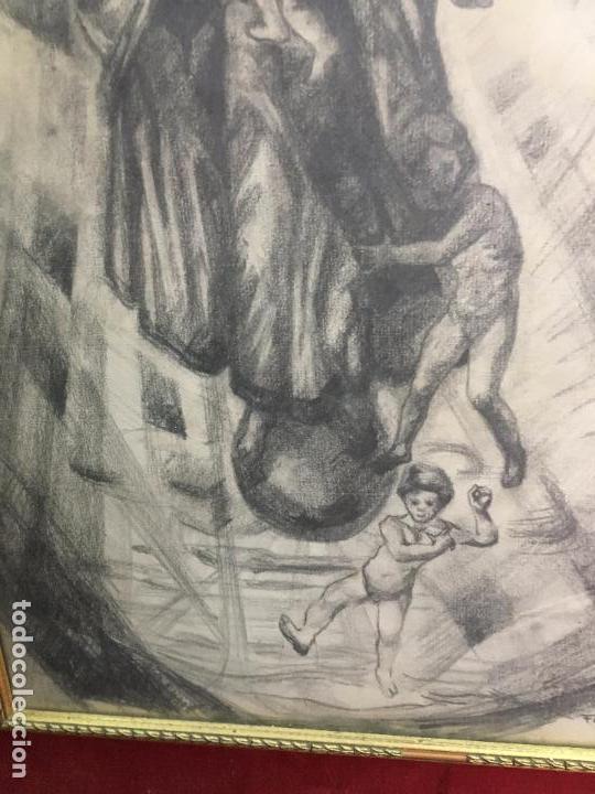 Arte: MAGNIFICA PINTURA A LAPIZ SOBRE LA CORONACION DE LA VIRGEN - MEDIDA MARCO 81X63,5 CM Y PINTURA 51X33 - Foto 4 - 156876304