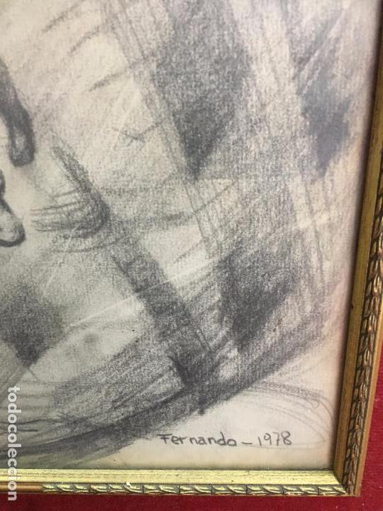 Arte: MAGNIFICA PINTURA A LAPIZ SOBRE LA CORONACION DE LA VIRGEN - MEDIDA MARCO 81X63,5 CM Y PINTURA 51X33 - Foto 6 - 156876304