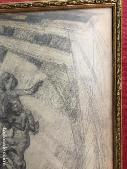 Arte: MAGNIFICA PINTURA A LAPIZ SOBRE LA CORONACION DE LA VIRGEN - MEDIDA MARCO 81X63,5 CM Y PINTURA 51X33 - Foto 7 - 156876304