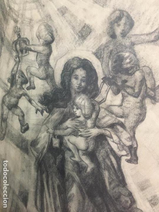 Arte: MAGNIFICA PINTURA A LAPIZ SOBRE LA CORONACION DE LA VIRGEN - MEDIDA MARCO 81X63,5 CM Y PINTURA 51X33 - Foto 8 - 156876304