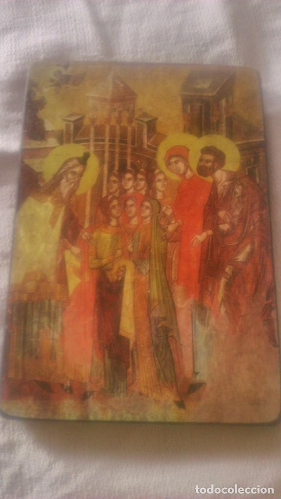 PEQUEÑO CUADRO RELIGIOSO LAMINA PEGADA EN MADERA. (Arte - Arte Religioso - Pintura Religiosa - Otros)