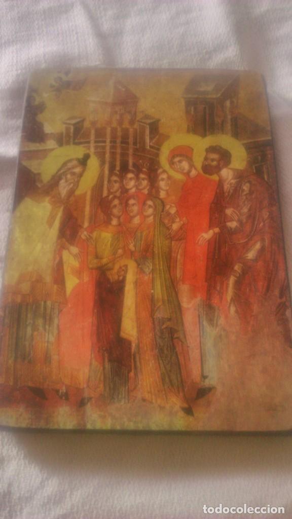 Arte: PEQUEÑO CUADRO RELIGIOSO LAMINA PEGADA EN MADERA. - Foto 2 - 86876452