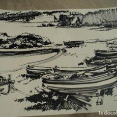 Arte: DIBUJO DE JOAN PERICOT IMPULSOR DE LAS HABANERAS DE CALELLA DE PALAFRUGELL 65 X 50 CM. Lote 86954992
